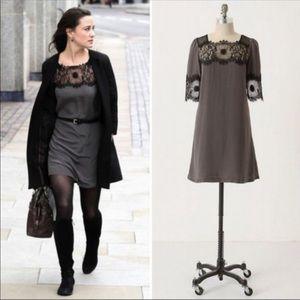 Anthropologie Lil 100% Silk Dress w/ Lace Detail 6